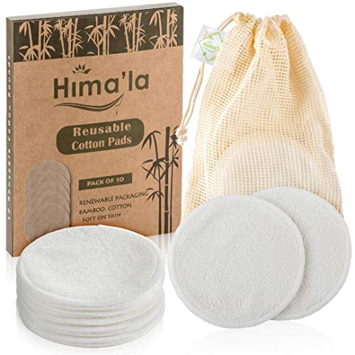 Himala Reusable Cotton Pads (10 Pack) – Washable Bamboo makeup Remover Rounds with Laundry Bag –...