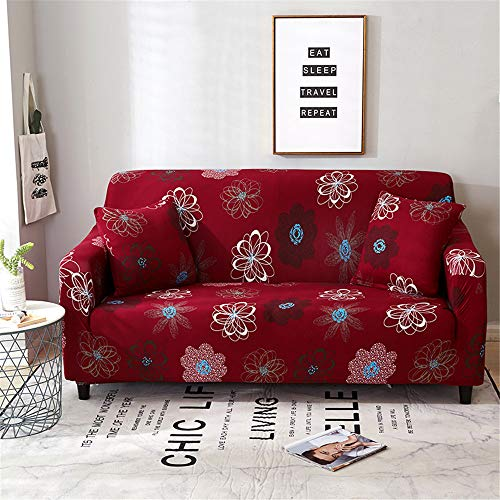 Rainlin Stretch Sofa Slipcovers Retro Printed Couch Covers Furniture Protector for Living Room with Free Pillow Case(Red Flowers, 3 Seater Size Sofa)