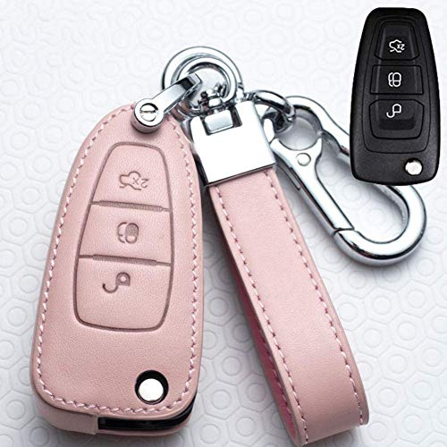 Smart Car Remote Key Holder - Funda para llave de coche con 3 botones de piel para Ford Ranger C-Max S-Max Focus Galaxy Mondeo Transit Tourneo Rosa