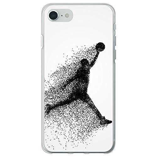 BJJ SHOP Funda Transparente para [ iPhone SE 2020 ], Carcasa de Silicona Flexible TPU, diseño : Jugador de Baloncesto Abstracto Saltando