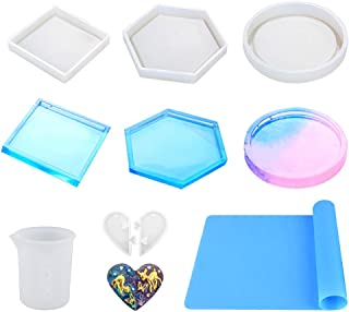 Resin Molds for Coasters, PAMISO 6 Pack Silicone Molds Kit for Casting Epoxy Resin UV Resin, Include Round, Hexagon, Squar...