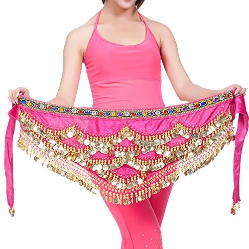 KUSUOU danza del vientre bufanda de cadera moneda de oro traje de danza del vientre falda camisa cinturón