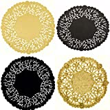 Combo Pack of 100 Black and Gold Doilies - Paper Lace and Metallic Foil Disposable Placemats 4, 6 and 8 inches Assortment by The Baker Celebrations - Made in Canada