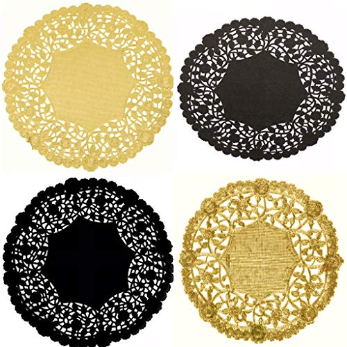 Combo Pack of 100 Black and Gold Doilies - Paper Lace and Metallic...