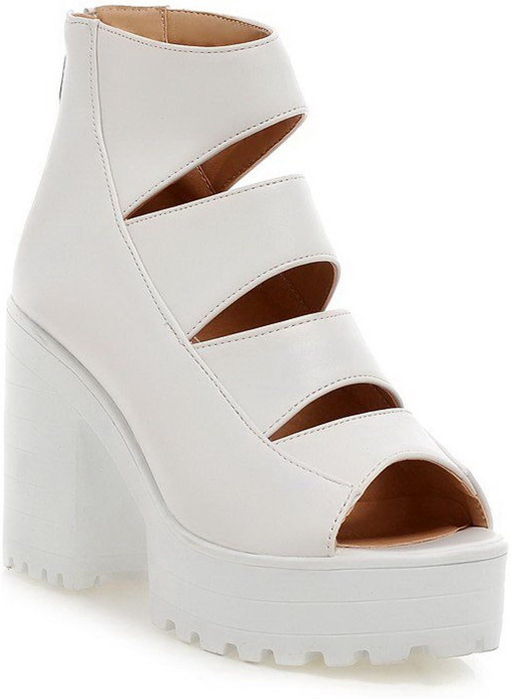 AllhqFashion Women's High-Heels Soft Material Solid Zipper Open Toe Heeled-Sandals