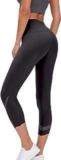 TOKY Women's High Waist Yoga Capri Workout Yoga Leggings Active Tummy Control Capri Super Soft Black