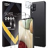 EGV 4 Stück Schutzfolie Kompatible mit Samsung Galaxy A12, 2 Folie & 2 Kamera Schutzfolie, 9H Festigkeit, HD Klar Bildschirmschutzfolie