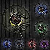 MASERTT Poseidone Mitologia Greca Nettuno Dio Orologio da Parete Mito Grecia Mare Dio Disco in Vinile Vintage Record Clock Vintage Conchology Arte-con LED