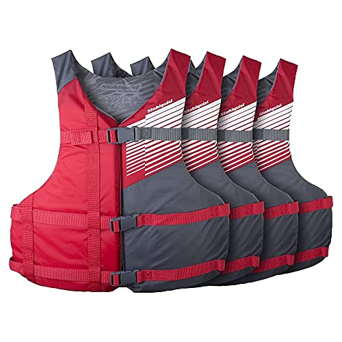 Stohlquist Fit Adult PFD Life Vest - Red, Universal Unisex Size Fitting - Easily Adjustable for Full Mobility, Lightweight Buoyancy Foam, PVC Free, Coast Guard Approved - Pack of 4