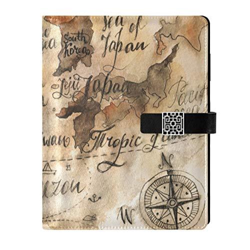 Cuaderno de cuero para diario, cuaderno de viaje, mapa, vintage, acuarela, rellenable, tamaño A5, cuaderno de tapa dura, regalo para hombres y mujeres
