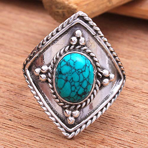 Solid 925 Sterling Silver Rings for Women & Girls, Sterling Silver Turquoise Rings, Bridesmaid Rings, Statement Christmas Gift, Handmade Jewelry