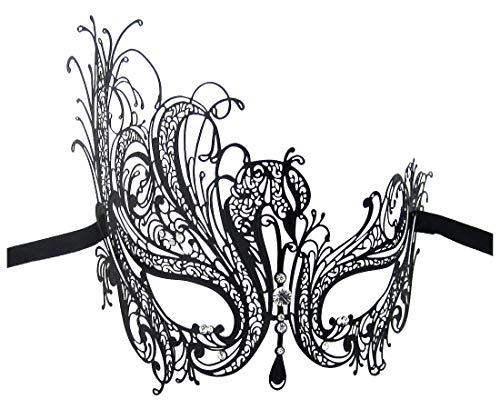 Burlesque-Boutiquezzkx Luxus Maske Damen Swan Metall Filigran Laser Cut venezianischen Masquerade Maske Gr. Einheitsgröße, Schwarz - Black/Clear Stones