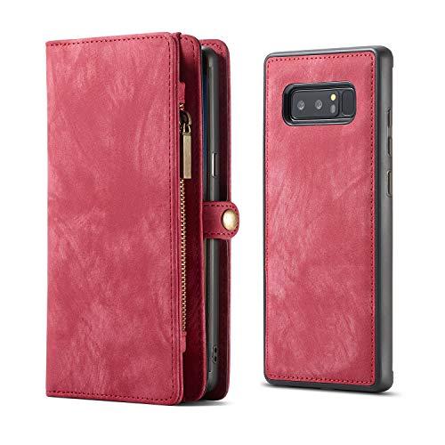 KelaSip Galaxy Note 8 Hülle, Galaxy Note 8 Leder Handyhülle, Geldbörse Case mit 11 Kartenfächer, Abnehmbarer Schutzhülle mit Weichem TPU, Brieftasche Tasche für Galaxy Note 8 6,3 Zoll, (Rot)