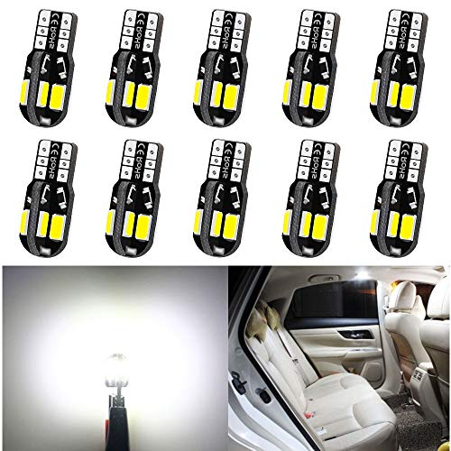 10pcs TABEN Blue T10 501 LED Bulb COB Chips W5W 194 168 2825 Wedge LED Light Car Interior Dashboard Dome Map Light Side Light LED Bulbs DC 12V