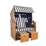 2-Sitzer Strandkorb Hörnum - Volllieger mit Fußablagen – inkl. Nackenkissen und Kuschelkissen Set - (Geflecht - Natur, Blau - Blockstreifen)