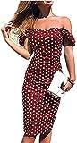 Vestido de Verano de Mujer Tubo Delgado Vestido de Noche Bodycon Fuera del Hombro Estampado de Lunares Casual Elegante Vintage (Rojo, S)