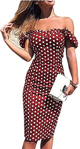 Vestido de Verano de Mujer Tubo Delgado Vestido de Noche Bodycon Fuera del Hombro Estampado de Lunares Casual Elegante Vintage (Rojo, XXL)