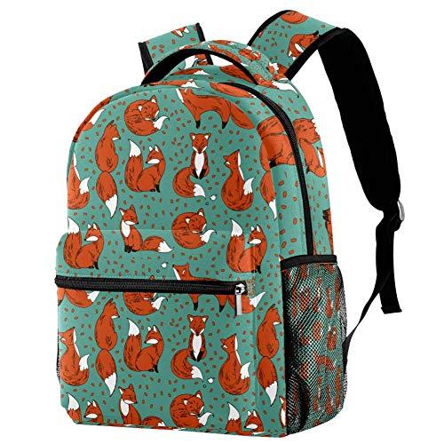 Mochila roja lindos zorros mochila escolar bolsa de senderismo mochila de viaje