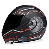 Helmet Bluetooth Moto Flip Up Full Face Modular Casco Integrado Micrófono Oculto Moto Abatible Casco Integral con Doble Lente,Certificación ECE C,S