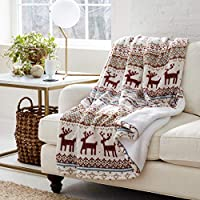 Eddie Bauer Smart Wi-Fi Heated Electric Reversible Sherpa Throw Blanket, Compatible with Alexa, Google, iOS, Android (Fair Isle Silver)