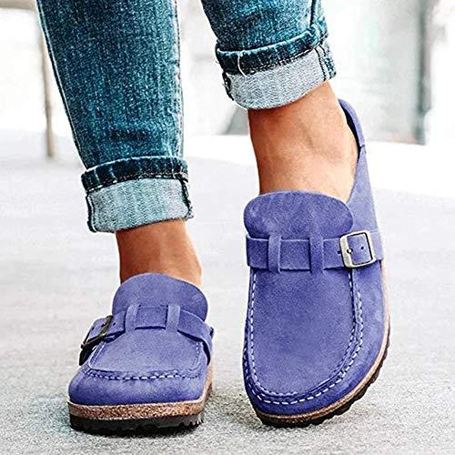 OcaseQ Sandalias de Planas para Mujer Verano 2020 Moda Pala Cerrada Zuecos Cómodo Ligero Antideslizantes Zapatillas para Jardín,Azul,38