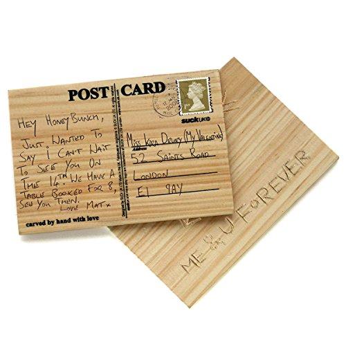 Goods & Gadgets Holz-Postkarte Glückwunschkarte - Individuell Geschnitzte Holz-Grusskarte zum Ritzen & Beschriften