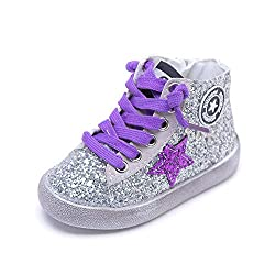 Purple Glittler High Top Sequins Star Sneakers