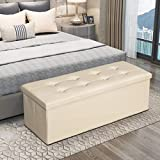 KINGSO 43' Ottoman with Storage Benches for Bedroom, Large Folding Faux Leather Toy Chest, Storage Chest Footrest Padded Seat for Entryway, Bedroom, Support 660lbs(Beige)