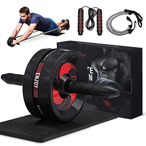 Slimerence AB Roller Kit mit Widerstandsbänder, Bauchmuskeltrainer für Bauchmuskeltraining, Bauchmuskeltrainingsgerät für Rumpftraining, perfekte Home Gym Ausrüstung für Männer Frauen Bauchtraining