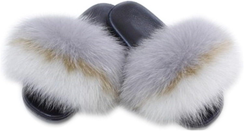 QMFUR Women's Slides Fox Fur Cute Slippers Comfort Flat Sandals (12, Multicolor-E)