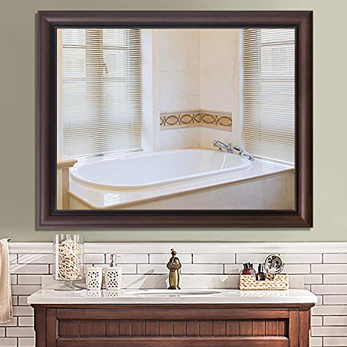 PexFix Hanging Wall Mirror Bathroom/Vanity Mirror Simple Wide Frame Large Rectangle Mirror -