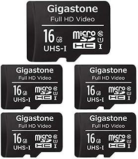 Gigastone マイクロSDカード 16GB Micro SD Card フルHD 5枚セット ミニ収納ケース付 SD変換アダプタ付 SDHC U1 90MB/S 高速 メモリーカード Class 10 UHS-I Full HD 撮影