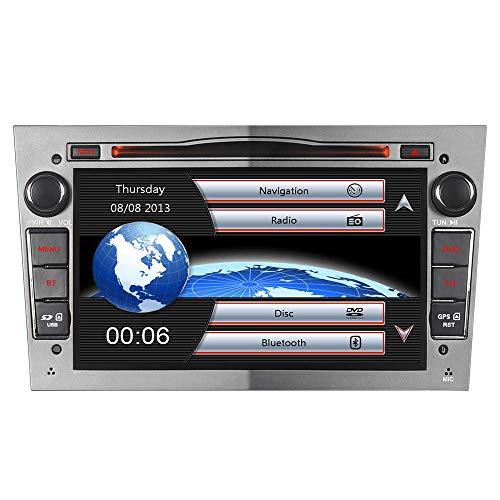 2-DIN DVD GPS Autoradio mit Navi für Opel Astra Corsa Zafira Meriva Vivaro Vectra Antara,7 Zoll Touchscreen Radio unterstützt Mirrorlink Lenkrad Bedienung USB SD RDS Bluetooth (Grau)