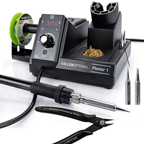 GALLUNOPTIMAL Lötstation Pionier 1 – Basic Set - 80 Watt – temperaturgeregelt - mit Temperatur-Display und Temperatursensor – ergonomischer Griff - 80°C bis 480°C
