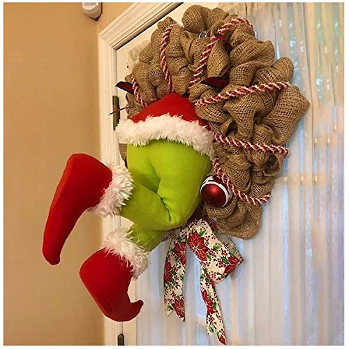Christmas Thief Wreath for Front Door,Naughty Xmas Thief Burlap Wreaths with Pose-able Plush Legs Christmas Hanging Ornament for Xmas Tree/Front Door/Living Room/Wall/Window Indoor Decoration (12inch)