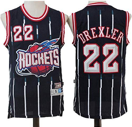 SHR-GCHAO Jersey De Baloncesto De Los Hombres - Retro Houston Rockets # 22 Clyde Austin Drexler, Malla Bordada NBA Basketball Jersey, 100% Poliéster,Negro,L(175~180cm)