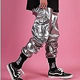 DESTRB Multi Pocket Cargo Trouser Stage Clothes DJ Singer Pant Men Casual Leather Harem Pant Male Streetwear Hip Hop Punk Silver (Color : Silver, Size : XXX-Large)