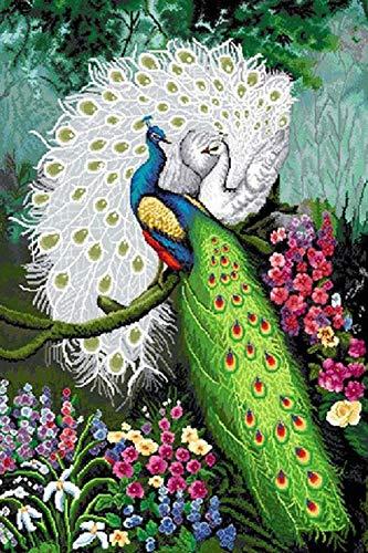 Diamond Painting pauw groen wit DIY 5D Diamant Schilderij Full Drill borduurwerk op cijfers Set kruissteek Strass Compleet Volwassenen Kinderkunst Wand Decor (zonder lijst) 40 x 30 cm