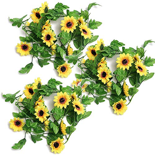 N\A 3 rolls Artificial Sunflower Garland Artificial Sunflower Vine Faux Flower Hanging Garland Silk Sunflower Vine with Green Leaves Fake Hanging Plants Decoration