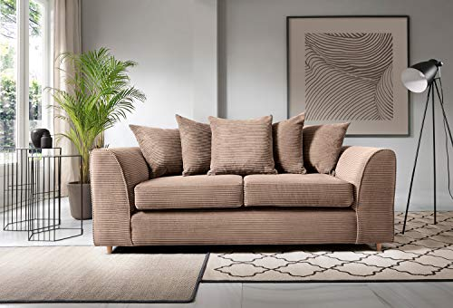 Abakus Direct Jumbo Cord Corner Sofa, Settee, Full Chenille Cord Fabric in Brown (3 Seater)