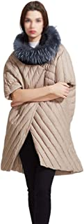 ZYDP Women's Down Puffer Jacket Fashion Personality Knee Length Coat Two Ways to Wear (Color : Beige, Size : F)