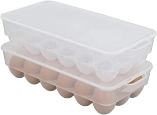 Kiddream Plastic Refrigerator Egg Trays, 2 Pack Clear Egg Container, 36 Count