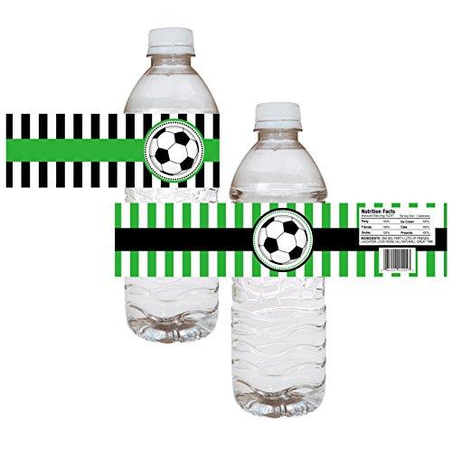 Adorebynat Party Decorations - EU Etiquetas de la botella de agua del partido de fútbol - la muchacha del cumpleaños del bebé pegatinas de ducha - conjunto de 12