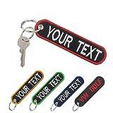 mvcen Portachiavi personalizzato, ricamo personalizzato del testo sul portachiavi, portach...