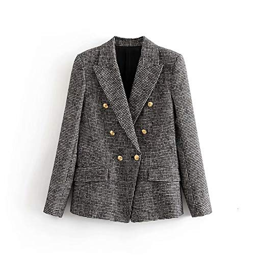 RVXZV SildFy Gitter Twill Tweed Jacke Mantel Vintage Damen Office Blazer Jacke Zweireihige Frauen Blazer Mode M grau