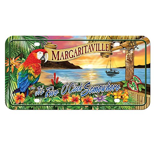 Rico Industries MTG111128C  5 O'clock Margaritaville Metal License Plate Tag,Blue, Red, Green, Tan,12'/6'