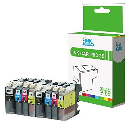 InkJello - Cartucho de Tinta Compatible para Impresora Brother DCP-J4110DW MFC-J4410DW MFC-J4510DW MFC-J4610DW MFC-J4710DW LC-127 LC-125 (BK, C, M, Y, 8 Unidades)