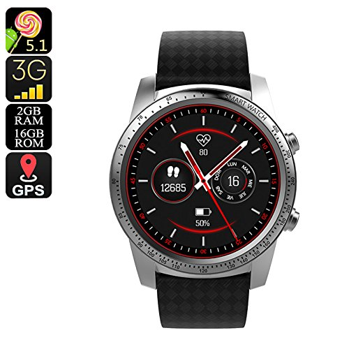 AllCall W1 3G Android Smartwatch Telefon (Quad-Core-CPU, Bluetooth, WiFi, Schrittzähler, Silber)