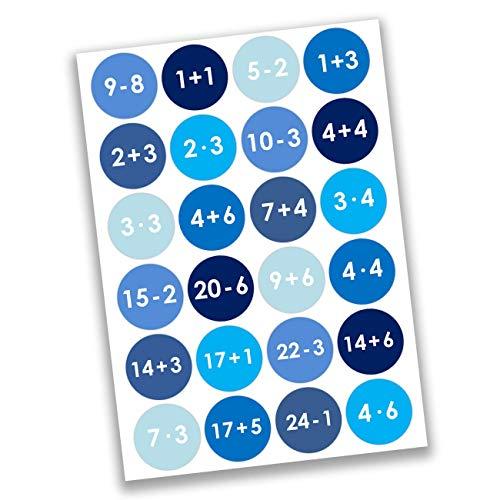 Papierdrachen 24 Adventskalender Nummern Aufkleber Zahlen - mathematisch - blau Nr 09 - Sticker 4 cm - zum Basteln und Dekorieren