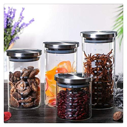 Frascos sellados de Vidrio Grandes de 4 Piezas con Tapa de Acero Inoxidable Contenedor de Comida de Cocina Caja de Granos múltiples de Granos de café con Escala (600ML + 800ML + 1000ML + 1200ML)